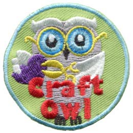 Craft, Owl, Scissors, Scrap, Book, Set, Leader, Who, Hoot, Bird, Patch, Embroidered Patch, Merit Badge, Badge, Emblem, Iron-On, Crest, Lapel Pin, Insignia, Girl Scouts, Boy Scouts, Girl Guides