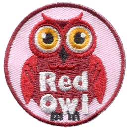 Red, Owl, Set, Leader, Who, Hoot, Bird, Patch, Embroidered Patch, Merit Badge, Badge, Emblem, Iron-On, Crest, Lapel Pin, Insignia, Girl Scouts, Boy Scouts, Girl Guides
