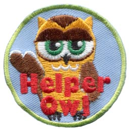 Helper, Owl, Set, Leader, Who, Hoot, Bird, Patch, Embroidered Patch, Merit Badge, Badge, Emblem, Iron-On, Crest, Lapel Pin, Insignia, Girl Scouts, Boy Scouts, Girl Guides