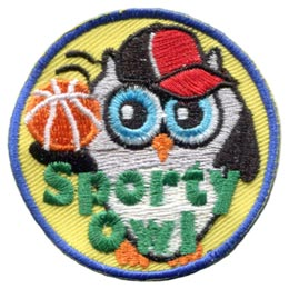 Sporty, Owl, Basketball, Baseball, Tennis, Soccer, Football, Set, Leader, Bird, Patch, Embroidered Patch, Merit Badge, Badge, Emblem, Iron-On, Crest, Lapel Pin, Insignia, Girl Scout, Girl Guide, Boy