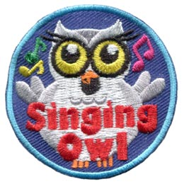 Singing, Owl, Music, Choir, Set, Leader, Who, Hoot, Bird, Patch, Embroidered Patch, Merit Badge, Badge, Emblem, Iron-On, Crest, Lapel Pin, Insignia, Girl Scouts, Boy Scouts, Girl Guides