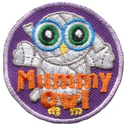 Mummy, Halloween, Monster, Owl, Set, Leader, Who, Hoot, Bird, Patch, Embroidered Patch, Merit Badge, Badge, Emblem, Iron-On, Crest, Lapel Pin, Insignia, Girl Scouts, Boy Scouts, Girl Guides