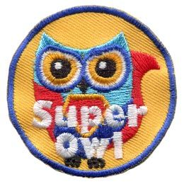 Super, Hero, Superman, Justice, Owl, Set, Leader, Who, Hoot, Bird, Patch, Embroidered Patch, Merit Badge, Badge, Emblem, Iron-On, Crest, Lapel Pin, Insignia, Girl Scouts, Boy Scouts, Girl Guides