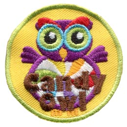 Candy, Sweet, Chocolate, Owl, Set, Leader, Who, Hoot, Bird, Patch, Embroidered Patch, Merit Badge, Badge, Emblem, Iron-On, Crest, Lapel Pin, Insignia, Girl Scouts, Boy Scouts, Girl Guides