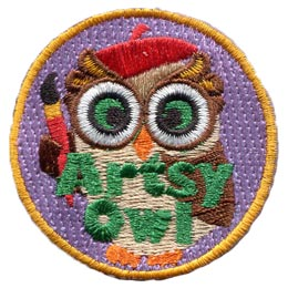 Artsy, Art, Paint, Colour, Draw, Owl, Set, Leader, Who, Hoot, Bird, Patch, Embroidered Patch, Merit Badge, Badge, Emblem, Iron-On, Crest, Lapel Pin, Insignia, Girl Scouts, Boy Scouts, Girl Guides