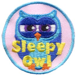 Sleepy, Tired, Bed, Lazy, Owl, Set, Leader, Who, Hoot, Bird, Patch, Embroidered Patch, Merit Badge, Badge, Emblem, Iron-On, Crest, Lapel Pin, Insignia, Girl Scouts, Boy Scouts, Girl Guides