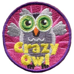 Crazy, Owl, Set, Leader, Who, Hoot, Bird, Patch, Embroidered Patch, Merit Badge, Badge, Emblem, Iron-On, Crest, Lapel Pin, Insignia, Girl Scouts, Boy Scouts, Girl Guides