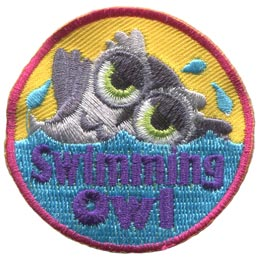 Swimming, Pool, Ocean, Lake, River, Owl, Set, Leader, Who, Hoot, Patch, Embroidered Patch, Merit Badge, Badge, Emblem, Iron-On, Iron On, Crest, Lapel Pin, Insignia, Girl Scouts, Boy Scouts, Girl Guide