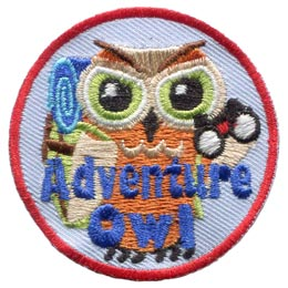 Adventure, Backpack, Binoculars, Owl, Set, Leader, Who, Hoot, Patch, Embroidered Patch, Merit Badge, Badge, Emblem, Iron-On, Iron On, Crest, Lapel Pin, Insignia, Girl Scouts, Boy Scouts, Girl Guides