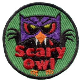 Scary, Vampire, Monster, Halloween, Owl, Leader, Who, Hoot, Patch, Embroidered Patch, Merit Badge, Badge, Emblem, Iron-On, Iron On, Crest, Lapel Pin, Insignia, Girl Scouts, Boy Scouts, Girl Guides