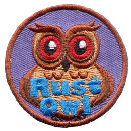 Rust, Iron, Corrosion, Owl, Set, Leader, Who, Hoot, Patch, Embroidered Patch, Merit Badge, Badge, Emblem, Iron-On, Iron On, Crest, Lapel Pin, Insignia, Girl Scouts, Boy Scouts, Girl Guides