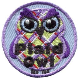 Plaid, Shirt, Material, Cross, Owl, Set, Leader, Who, Hoot, Patch, Embroidered Patch, Merit Badge, Badge, Emblem, Iron-On, Iron On, Crest, Lapel Pin, Insignia, Girl Scouts, Boy Scouts, Girl Guides