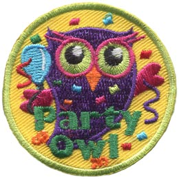 Party, Balloon, Celebration, Confetti, Owl, Leader, Who, Hoot, Patch, Embroidered Patch, Merit Badge, Badge, Emblem, Iron-On, Iron On, Crest, Lapel Pin, Insignia, Girl Scouts, Boy Scouts, Girl Guides