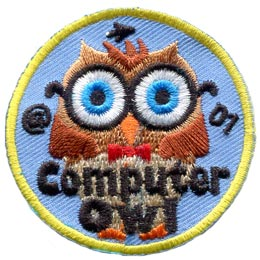 Computer, Owl, Leader, Who, Hoot, Patch, Embroidered Patch, Merit Badge, Badge, Emblem, Iron-On, Iron On, Crest, Lapel Pin, Insignia, Girl Scouts, Boy Scouts, Girl Guides
