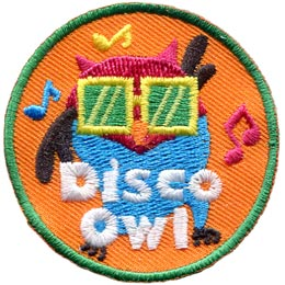 Disco, Dance, Lights, Ball, Owl, Leader, Who, Patch, Embroidered Patch, Merit Badge, Badge, Emblem, Iron On, Iron-On, Crest, Lapel Pin, Insignia, Girl Scouts, Boy Scouts, Girl Guides