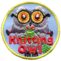 Knitting, Yarn, Pattern, Owl, Leader, Who, Patch, Embroidered Patch, Merit Badge, Badge, Emblem, Iron On, Iron-On, Crest, Lapel Pin, Insignia, Girl Scouts, Boy Scouts, Girl Guides