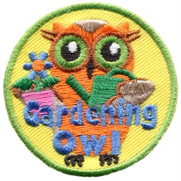 Gardening, Plant, Vegetable, Dirt, Flower, Owl, Leader, Who, Patch, Embroidered Patch, Merit Badge, Badge, Emblem, Iron On, Iron-On, Crest, Lapel Pin, Insignia, Girl Scouts, Boy Scouts, Girl Guides