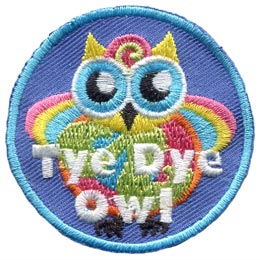 Tye, Dye, Colour, Rainbow, Hippy, Owl, Set, Leader, Who, Hoot, Patch, Embroidered Patch, Merit Badge, Badge, Emblem, Iron-On, Iron On, Crest, Lapel Pin, Insignia, Girl Scouts, Boy Scouts, Girl Guides