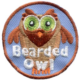 This owl has a magnificent beard and mustache. The words ''Bearded Owl'' are embroidered in white thread near the bottom of this circular patch.