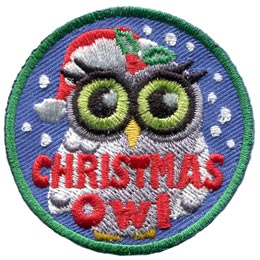 This patch depicts an owl in a red Santa hat decorated with holly berries and leaves. Snowflakes fall about the owl and the words ''Christmas Owl'' are embroidered near the bottom of the emblem.