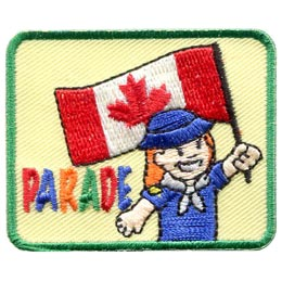 Parade, Flag, Canada, Girl, Festival, Colour, Party, Patch, Embroidered Patch, Merit Badge, Badge, Emblem, Iron On, Iron-On, Crest, Lapel Pin, Insignia, Girl Scouts, Boy Scouts, Girl Guides