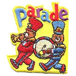 Parade, Bears, Drum, Bugle, Summer, March, Marching, Girl, Boy, Patch, Merit Badge, Crest, Scouts, Guides