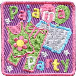 Pajama, Party, PJ, PJs, Pillow, Star, Balloon, Patch, Embroidered Patch, Merit Badge, Badge, Emblem, Iron On, Iron-On, Crest, Lapel Pin, Insignia, Girl Scouts, Boy Scouts, Girl Guides