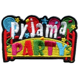 Pyjama, Pajama, Party, Balloons, Stars, Banner, PJ, Patch, Embroidered Patch, Merit Badge, Badge, Emblem, Iron On, Iron-On, Crest, Lapel Pin, Insignia, Girl Scouts, Boy Scouts, Girl Guides