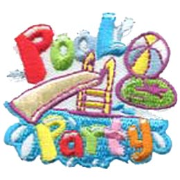 A water slide drops into a pool of water as a inner tube and beach ball sail in the air. The words Pool Party are embroidered in colourful letters with Pool at the top and Party at the bottom.