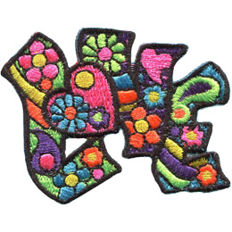 The word 'LOVE' is spelled out with the 'o' as a heart. Inside the letters and heart are retro colours and designs such as flowers, abstract shapes, and stripes.