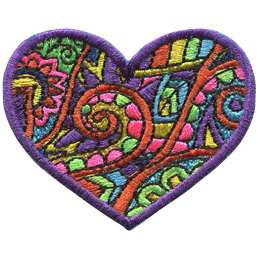 This purple bordered heart is filled with a paisley and flower pattern.