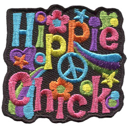 This crest displays the words 'Hippie Chick' surrounded by signs of the retro era such as flowers, peace signs, stars, and hearts.