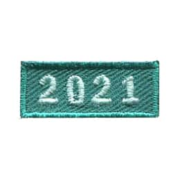 This 1.0 inch wide by 0.5 inch high rocker forms a straight-edged green rectangle. The year 2021 is embroidered in a bold font.