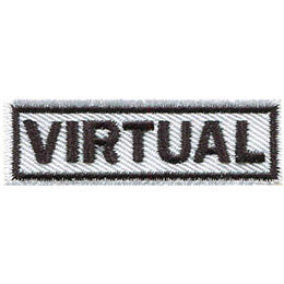 This white horizontal bar has the word \'Virtual\' on it in capital letters.