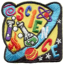 Science, Planet, Beaker, Galaxy, Star, Space, Patch, Embroidered Patch, Merit Badge, Badge, Emblem, Iron On, Iron-On, Crest, Lapel Pin, Insignia, Girl Scouts, Boy Scouts, Girl Guides