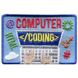 A laptop is open and showing a blue screen with the text '<coding>' displayed as hands type on the keyboard below. Above the laptop screen is embroidered the word 'Computer' to make 'Computer Coding' the main theme of this crest. Coding symbols float around the laptop.