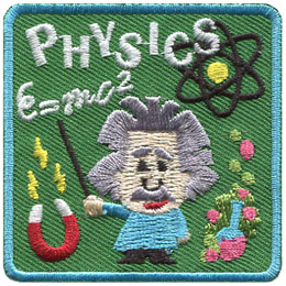 A little Einstein looking fellow points to the equation E=mc2 while the word 'Physics' hangs in the air above his head. The background is decorated with the molecular structure of an atom, a magnet, and a beaker with green smoke bubbles coming out of the top.