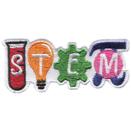 Each of the letters \'STEM\' are on a picture. S is on a thin beaker, the T is on a light bulb, E is on a gear, and M is on the pie symbol.