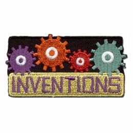 Inventions, Gear, Brain, Genius, Nobel, Prize, Patch, Embroidered Patch, Merit Badge, Badge, Emblem, Iron-On, Iron On, Crest, Lapel Pin, Insignia, Girl Scouts, Boy Scouts, Girl Guides