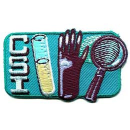 CSI, Crime, Scene, Fingerprint, Magnifying Glass, Sherlock, Mystery, Glove, Tube, Test Tube, Patch, Embroidered Patch, Merit Badge, Iron On, Iron-On,