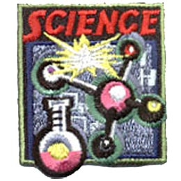 A molecule image dominates this patch. A measuring beaker rests to the left of the molecule and a spark of electricity sparks above the molecule. The word ''Science'' sits above everything on this square patch.