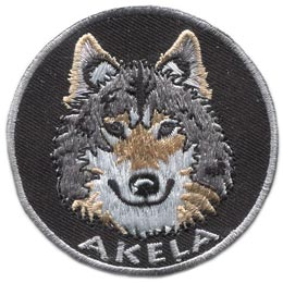 Akela, Wolf, Jungle, Book, Leader, Name, Patch, Embroidered Patch, Merit Badge, Badge, Emblem, Iron On, Iron-On, Crest, Lapel Pin, Insignia, Girl Scouts, Boy Scouts, Girl Guides