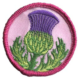 Thistle, Flower, Plant, Thorn, Prickle, Purple, Circle, Patrol, Patch, Embroidered Patch, Merit Badge, Badge, Emblem, Iron On, Iron-On, Crest, Lapel Pin, Insignia, Girl Scouts, Boy Scouts, Girl Guides