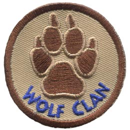 The paw print of a mighty wolf is placed in the center of this brown patch. The words ''Wolf Clan'' are embroidered underneath.