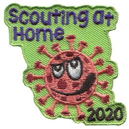 A COVID-19 virus glares at the words Scouting At Home above its head. The year 2020 is below the virus.