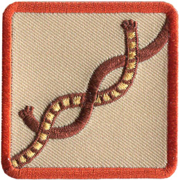 This square badge displays step one on how to make a square knot. Take left end of the rope and put it over the right, then wrap it around the other side.