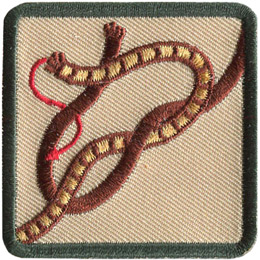 This square badge displays step two on how to make a square knot. Now cross the right side over the left and wrap around the other.