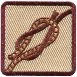 This square badge displays step three on how to make a square knot. Now just tighten the knot and you\'re done.