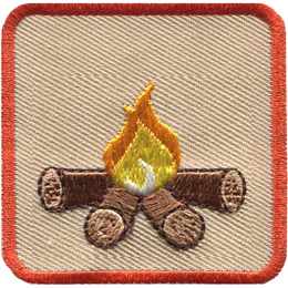 This square badge is part one of a three part collection that displays a growing campfire. A small yellow flame burns on top of logs in this orange bordered patch.