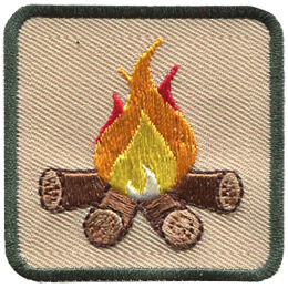 This square badge is part one of a three part collection that displays a growing campfire. A medium yellow-orange flame burns on top of logs in this green bordered patch.